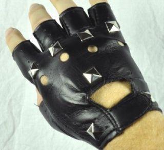 Heavy Metal Black Fingerless Gloves Pyramid Stud Death