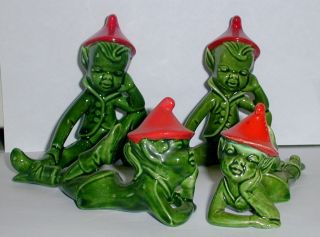 VINTAGE PIXIE ELF GNOME FIGURINES HOLLAND MOLD KILLARMEY CERAMIC