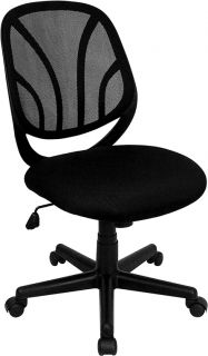 BACK MESH FABRIC SEAT ERGONOMIC ARMLESS OFFICE DESK TASK CHAIR CHAIRS