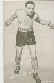 ANTON RAADIK VINTAGE BOXING EXHIBIT SUPPLY CO. PENNY ARCADE CARD 1943