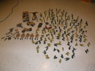Huge Lot Army Men Toy Soldiers Over 170 Helicopter Jeep Motorcycle