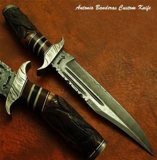 Antonio Banderas 1 OF A KIND CUSTOM DAMASCUS BOWIE KNIFE CARVED FOSSIL