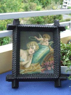Antique Tramp Art Frame Angel Litho Germany 1900