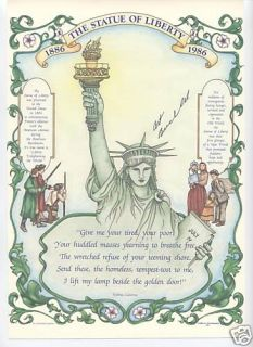 Art Buchwald 2 RARE Signed Statue Liberty Politics Post