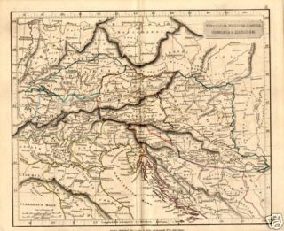 Antique Map of Ancient Italy Austria Arrowsmith 1840