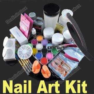 Nail Art Tips Kit Set Full Combo Liquid Powder DIY Acrylic Decorations