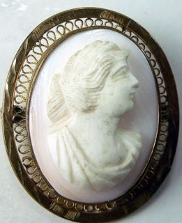 Antique Victorian Jewelry Brooch Art Nouveau Shell Cameo Pin Angel