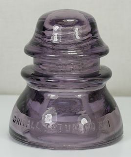 ANTIQUE WHITALL TATUM NO 1 MADE IN USA AMETHYST PURPLE GLASS INSULATOR