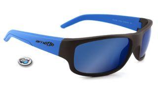 New Arnette Pilfer Sunglasses Matte Black Blue Stems Grey Blue Mirror