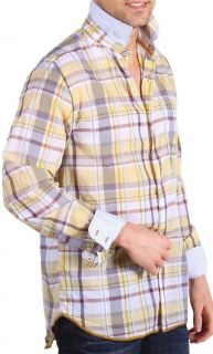 New with Tag   $195.00 ARNOLD ZIMBERG Yellow/Brown Cotton Plaid Shirt
