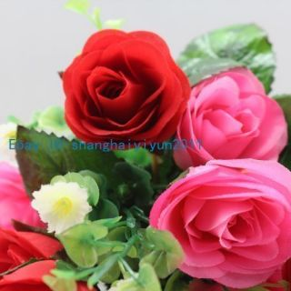 50 PCS Silk Roses Buds Wedding Bouquet Artificial Flowers Red F56