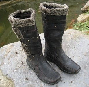 Suede & Faux Wool & Fur Polar Boots APRES LAMO Sizes 6   10 Dark Brpwm