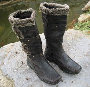 Suede & Faux Wool & Fur Polar Boots APRES LAMO Sizes 6   10 Dark Brpwm