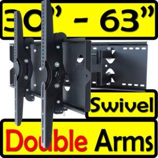 Full Motion Articulating Dual Arm Swivel LCD LED TV Wall Mount Bracket