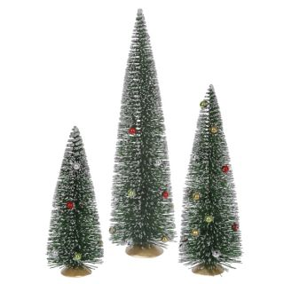 set of 3 green artificial mini village christmas trees item