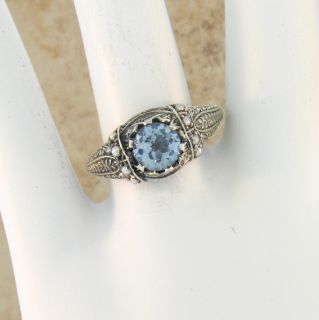 AQUAMARINE SEED PEARL ANTIQUE VICTORIAN STYLE .925 SILVER RING SIZE 9