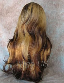 Wigs 2 Tone Blonde w Dark Root Extra Long Full Skin Top Wig