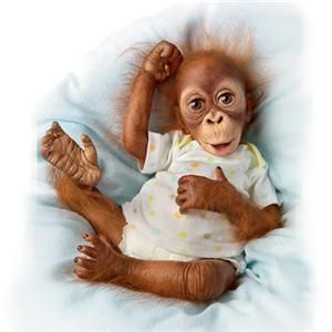 Ashton Drake So Truly Real Baby Babu Orangutan Monkey Doll New