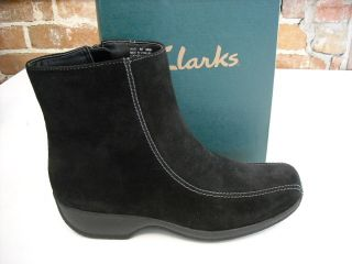 Clarks Ashlyn Black Suede Water Resistant Ankle Boots