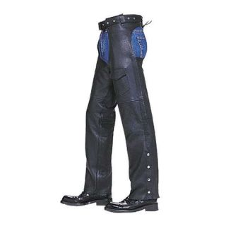 Mens Womans Black Solid Cowhide Leather Motorcycle Chaps Xs S M L XL