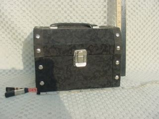 Black Satin Brocade Covered Treasure Chest Box with Handle Mirror
