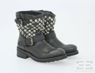 Ash Black Leather & Antique Silver Studded Titanic Ankle Boots Size 37