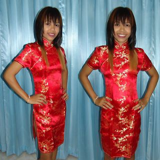 Chinese Cheongsam Traditional Sexy Silk Dress Fire Red