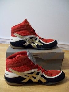 nwt split second 7 navy gold and red asics wrestling shoes mens size