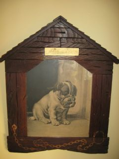 ANTIQUE FOLK ART WOOD HANDMADE FRAME OF A DOG HOUSE & OLD PRINT BY E