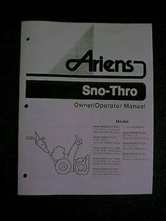 Ariens 924 Sno Thro Snowblower Snow Thrower Owners Manual