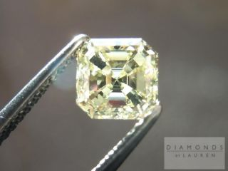 02Ct Asscher Cut Fancy Light Yellow VS1 3 Stone Ring R1093 Diamonds