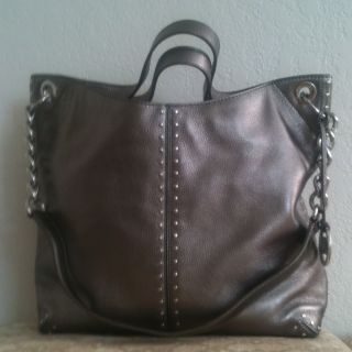 Michael Kors Astor Gunmetal Leather Tote