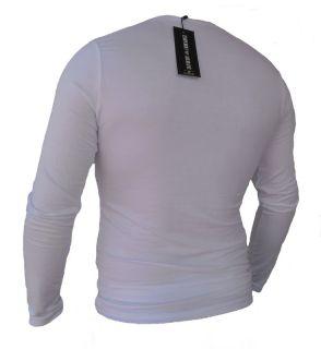 NEW EMPORIO ARMANI WHITE MEN LONG SLEEVE SLIM T SHIRT SIZE XL
