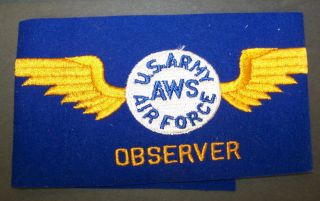 MILITARY BLUE PATCH  U.S.ARMY AWS AIR FORCE OBSERVER 18x 4 ARM BAND