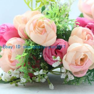 Colors Silk Roses Buds Wedding Bouquet Artificial Flowers F36