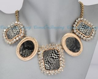 Fashion Golden Chain Black Artificial Snake Leather Crystal Pendant