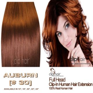 20 Clip in Human Hair Extensions Light Auburn 30