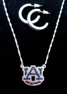 Auburn University Tigers Crystal AU Necklace Hoop Earrings jewelry