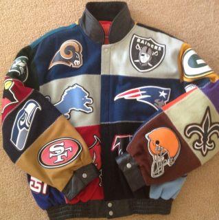 Jeff Hamilton Reebox Vintage 2004 All NFL Teams Logo Collage 4XL Wool