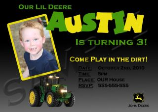 John Deere Custom Photo Invitations 5x7 Birthday Cards