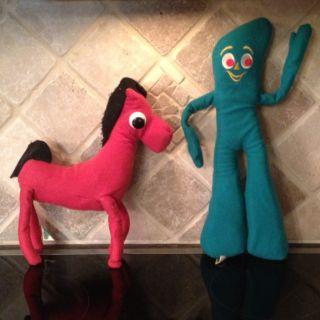 Gumby And Pokey Plush Stuffed Animal Vintage 1983 Art Clokey