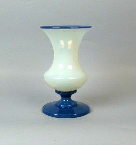 Fry Foval Art Glass Opalescent Vase with Delft Blue Foot Stem Rim