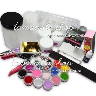 Nail Art Kit Set Acrylic Liquid Powder Brush Pen File Rhinestone for