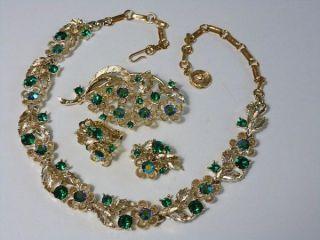 Vintage Lisner Set Green Rhinestones Aurora Borealis Necklace Pin