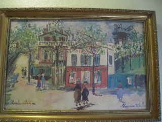 Maurice Utrillo V Montmartre Print on Canvas Framed Circa 40s 20L x