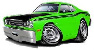 1970 74 Plymouth Duster Muscle Car Cartoon Tshirt Free