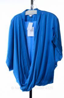 Diane Von Furstenberg L 12 14 Clean Keiko Top Sailor Blue Draped Shirt