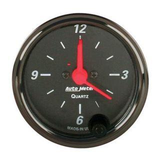 New Auto Meter Designer Black 12 Volt Electric Clock Gauge, 2 1/16