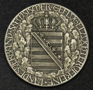 1918, Saxony, Frederick August III. Poultry Farming Association Silver