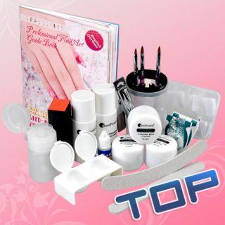 Nail Art Manicure Kit Acrylic Powder English Guide Book